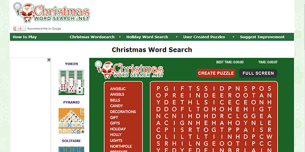 christmas word search screen shot - Christmas Word Search Games
