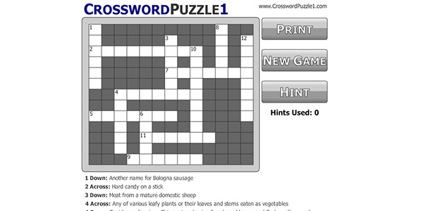 Crossword Puzzle Screen Shot