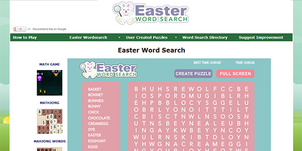 Easter Word Search Screen Shot