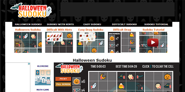 Halloween Sudoku Screen Shot