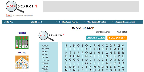 Word Search Screen Shot